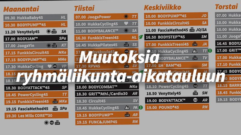 Muutoksia ryhmäliikunta-aikatauluun 5.7.–8.8.